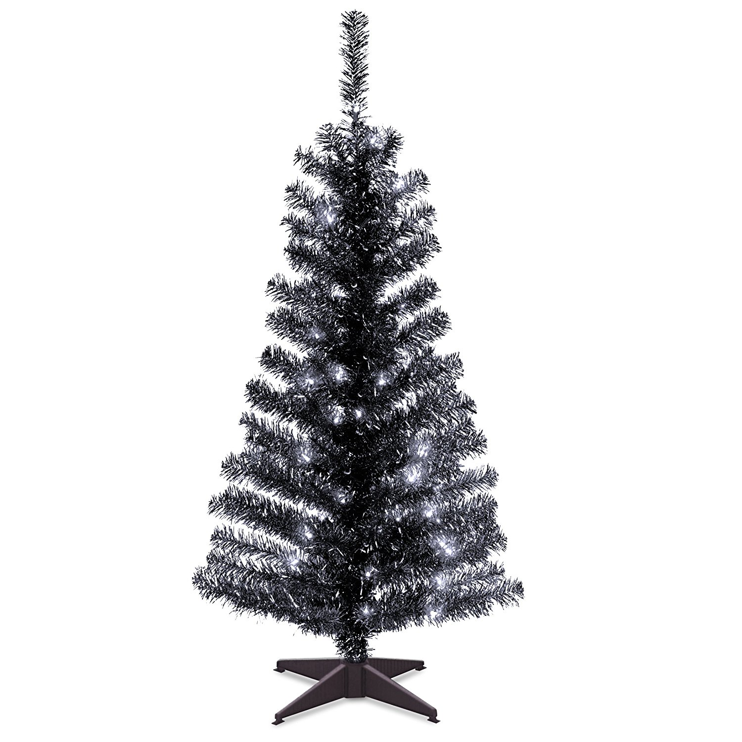 national black christmas tree 4 foot black tinsel with plastic stand and 70 clear lights you can shop it online now from amazon get it now request it - Christmas Tree Stand Amazon