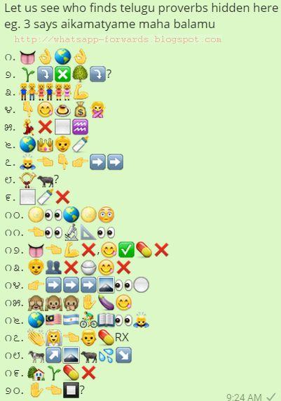 Find Telugu Proverbs hidden Here Whatsapp Emoji Quiz