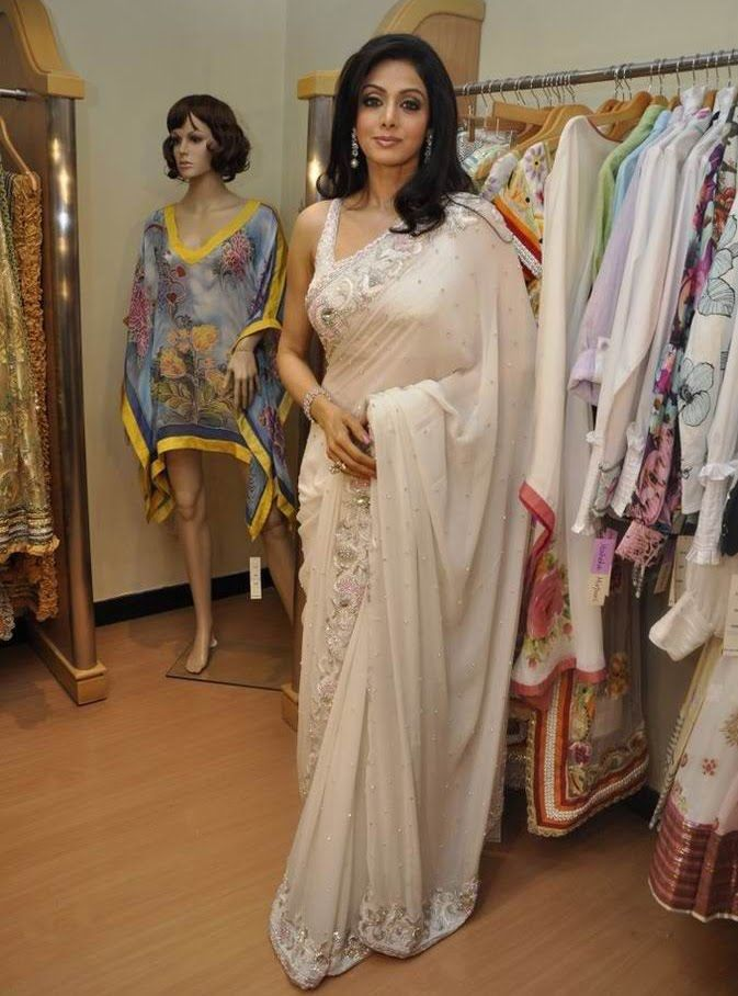 Sridevi in a white saree