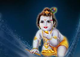 Baby Krishna Wallpaper In Blue Background