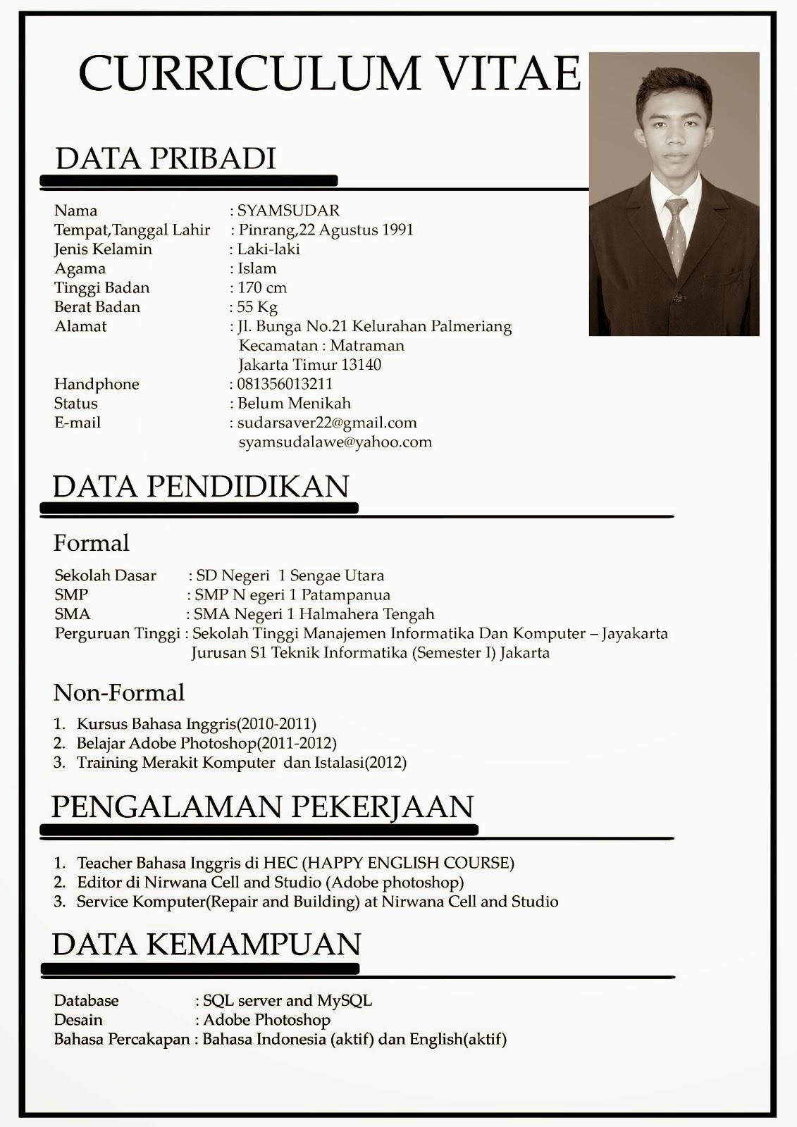 Contoh CV atau Daftar Riwayat Hidup Lamaran Kerja Bahasa Indonesia dan Inggris