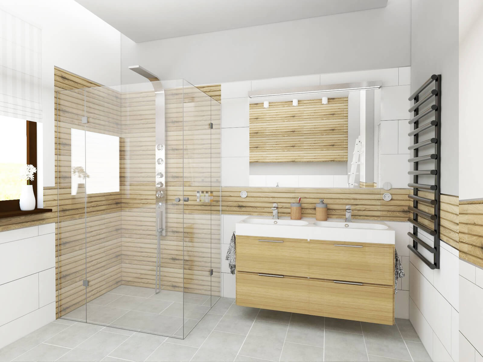 Nowoczesna łazienka W Kolorze Bieli Czerni I Drewna Blog