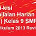 Kisi-kisi Penilaian Harian (PH) Kelas 9 SMP (Kurikulum 2013 Revisi)