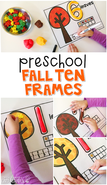 These fall tree ten frames are a super fun way to practice number identification, counting, number writing, and fine motor skills with a fall theme. Great for tot school, preschool, or even kindergarten!
