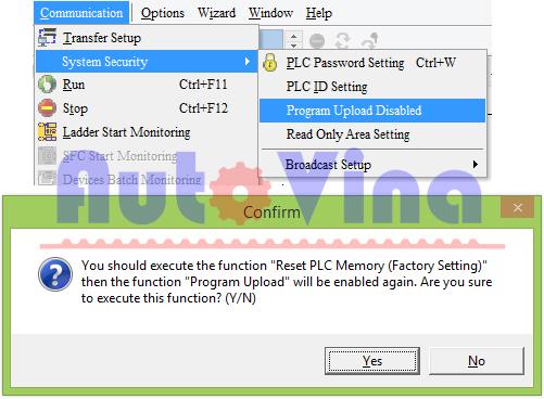 Program Upload Disable, chống upload chương trình PLC Delta