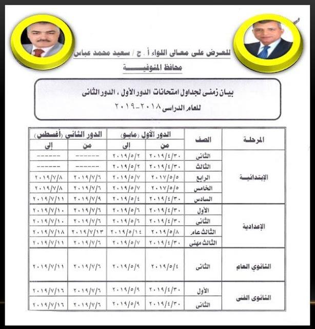 المنوفية: الجدول الزمني لامتحانات الدور الاول و الدور الثاني للعام الدراسي 2019 جميع المراحل