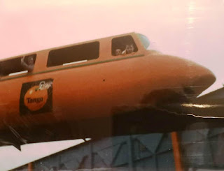 Riding the Tango branded Monorail at Butlin's Minehead in the early 1990's. Photo from the Gottfried family photo archive