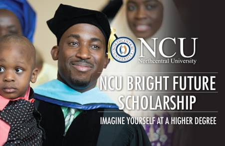 banner for NCU Bright Future Scholarship.  Imagine Yourself at a Higher Degree.  Young man in graduation attire holding a child and smiling at camera.