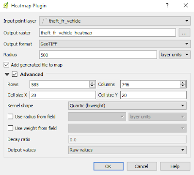 QGIS Heatmap Plugin window