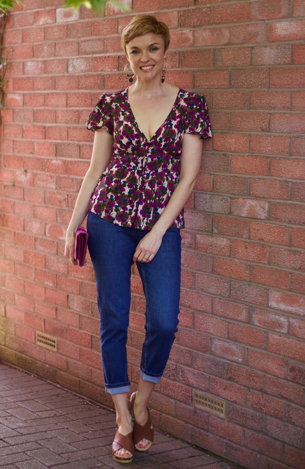 Tea blouse and mom jeans | Over 40 Fashion | Fake Fabulous