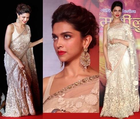 Deepika Padukone in a white sari