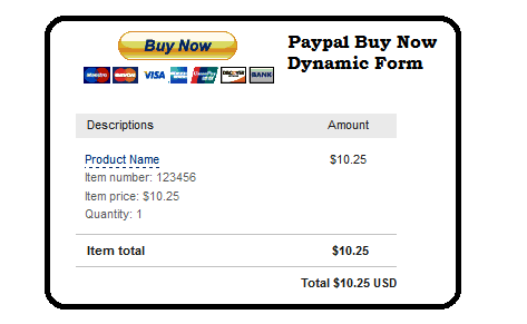 paypal buynow button with dynamic fields