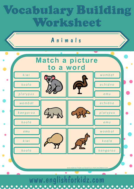 Australian animals worksheet - picture to word matching - free ESL printables