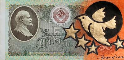 50 Rubel Schein mit Taubenmotiv von Olga David