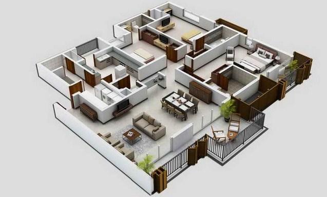 Denah Model Rumah Minimalis Tipe 60 Dengan 1 Lantai