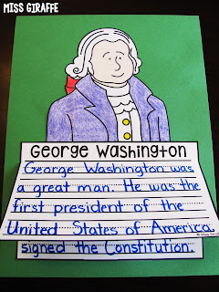 George Washington craft for writing where kids just write color cut and glue to show what they know about our first president