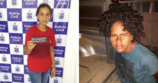 Ana Cláudia (à esquerda) e Caroline (à direita) foram presas nas rodoviárias de Baixa Grande e Ipirá, respectivamente (Foto: Divulgação/Polícia Civil de Baixa Grande)