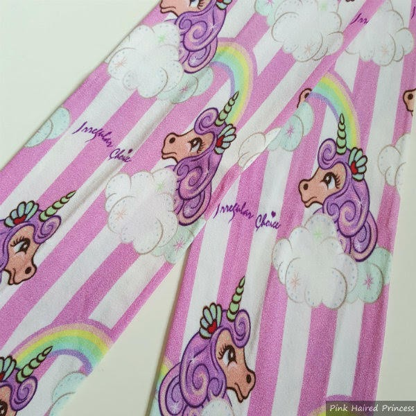 striped seahorse unicorn printed tights flatlay