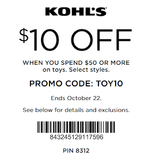 Kohls coupon extra $10 off $50 Toys