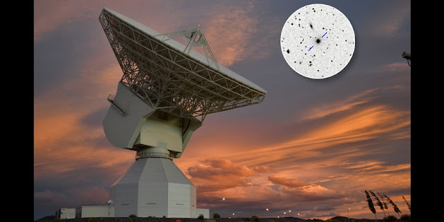 ESA's deep space tracking station in Argentina with, inset, Quasar P1514-24 on the guidance map. Credit: Estrack image: ESA/D. Pazos – Quasar P1514-24 inset image: Rami Rekola, Univerity of Turku, 2001