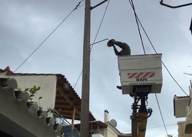 """Τους """"άλλαξε τα φώτα"""" ο Δήμαρχος στην Δημοτική Κοινότητα Ερμιόνης"""
