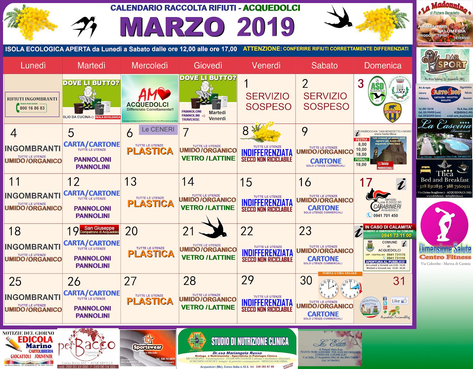 Calendario Raccolta Differenziata Sanremo.Rifiuti Calendario Del Mese Di Marzo 2019