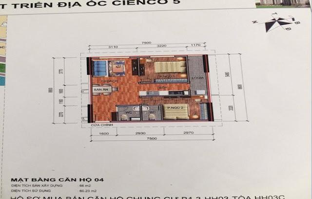 Sơ đồ thiết kế căn hộ 04 chung cư B1.3 HH03C Thanh Hà Cienco 5