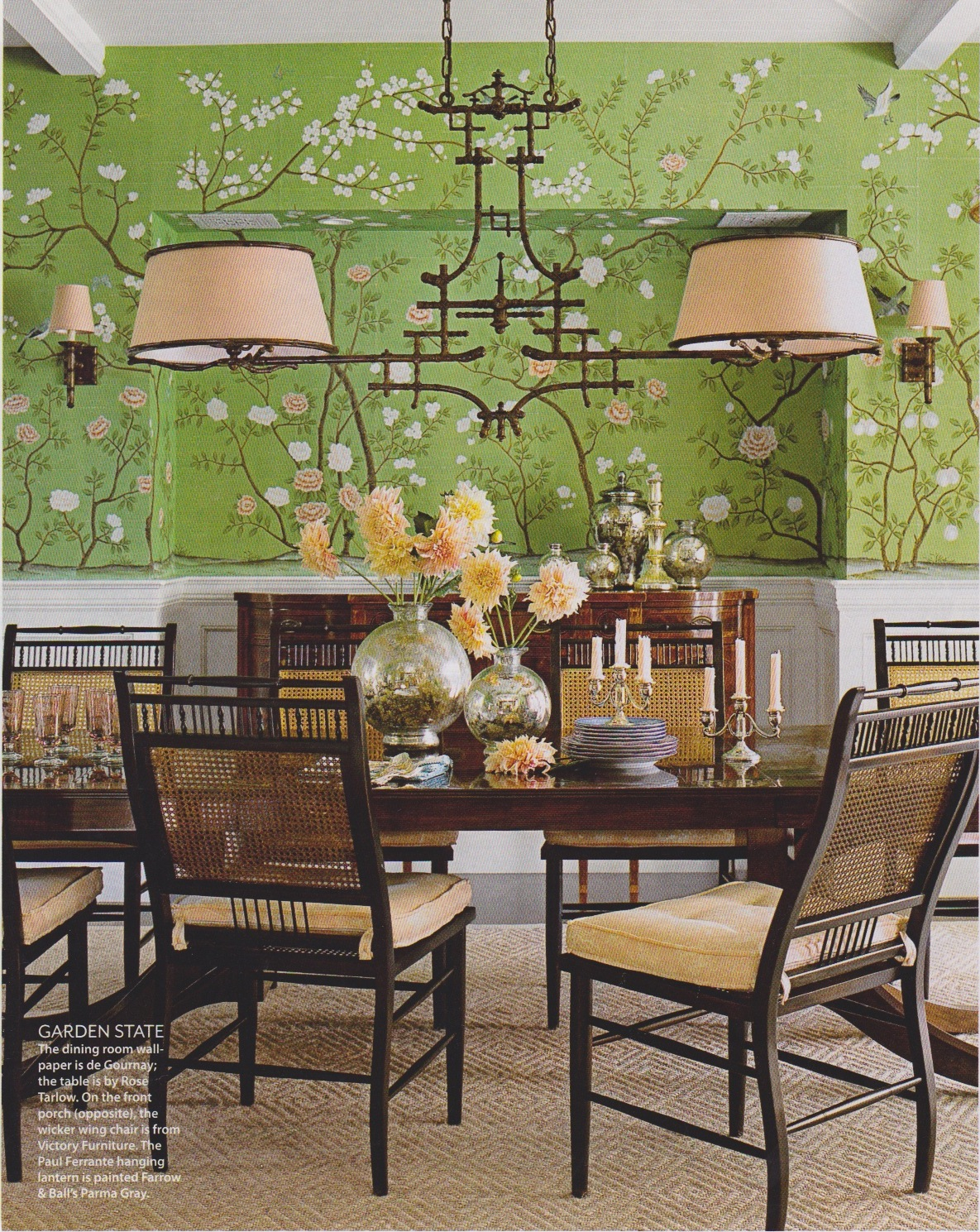 Sybaritic Spaces: Gorgeous Green Dining Room: De Gournay