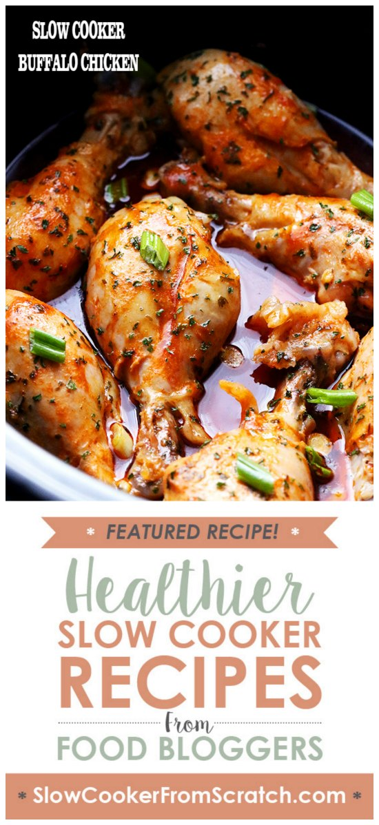 Slow Cooker Buffalo Chicken from Diethood featured on SlowCookerFromScratch.com