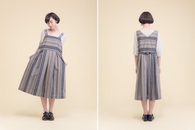 波特小姐吊帶背心壓折條紋洋裝