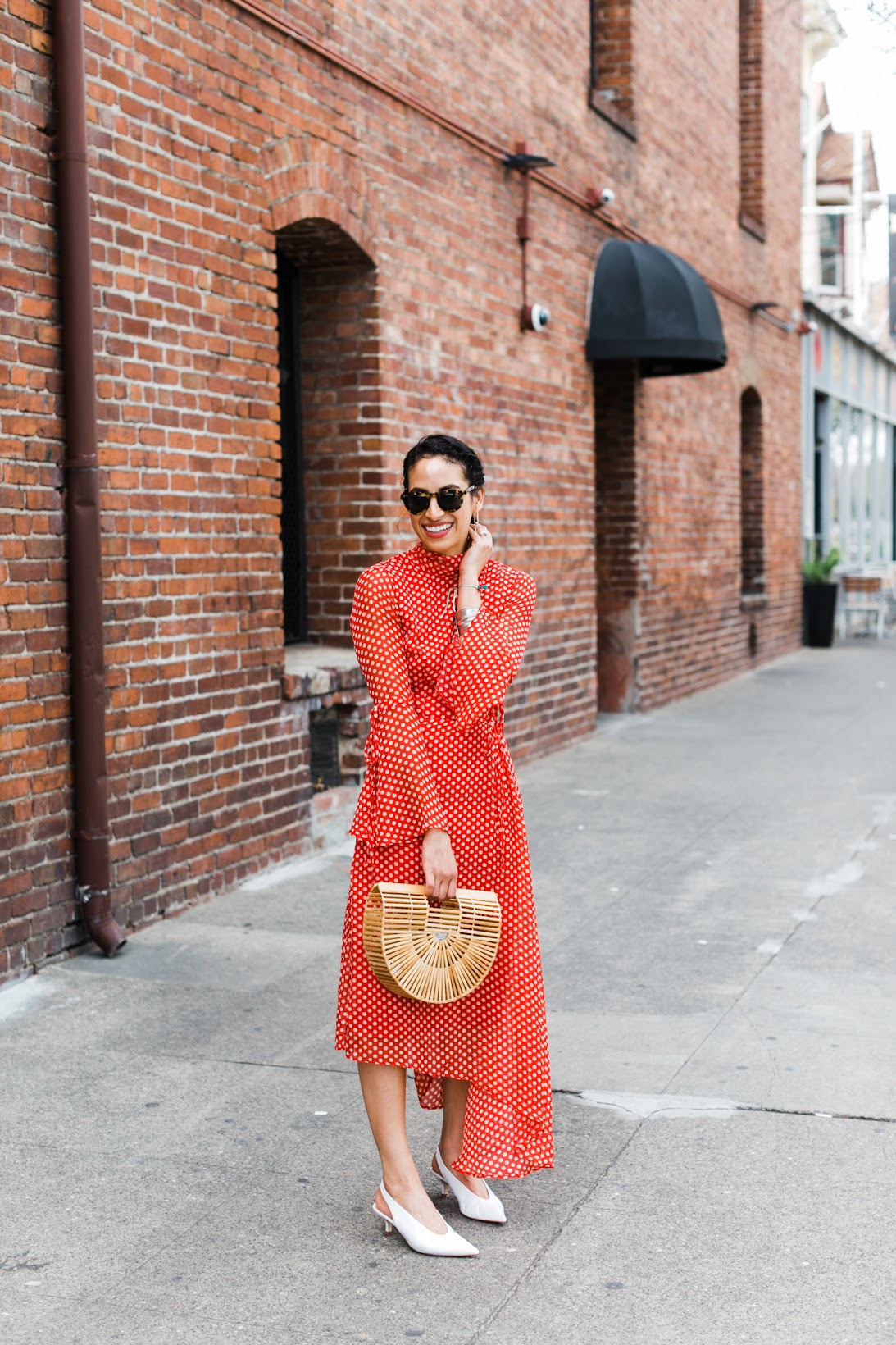 red polka dots, boohoo dress, best polka dot dress under $60, white pointy toe pumps, spring style, affordable spring style, chic spring style