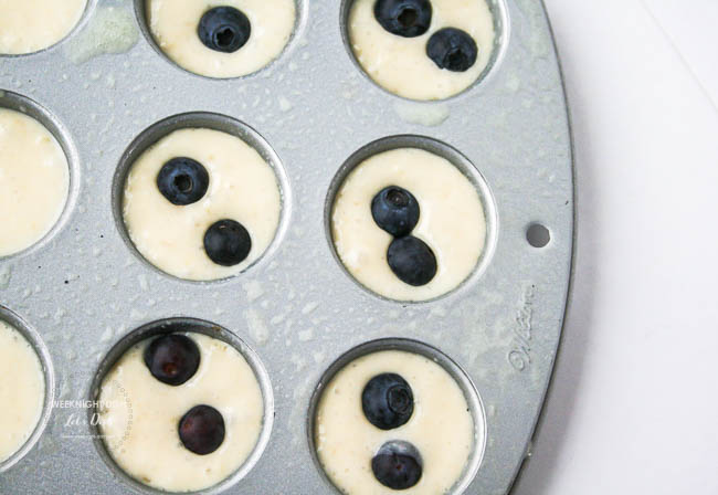 Scoop batter into a mini muffin tin.