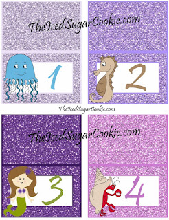 1 , 2, 3, 4, DIY Mermaid Under The Sea Birthday Party Printables-Food Label Tent Cards, Cupcake Toppers, Flag Garland Hanging Banner-Purple Glitter Digital Download Template-Seahorse, Jellyfish, Hermit Crab Chocolate Sea Shells, Fish Eggs, Ocean Waves, Mermaid Sandwiches How many Pearls, Take A Guess, Guess How Many Seashells, How Many?