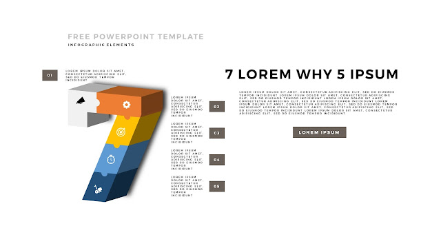 3D Puzzle Infographic Elements For PowerPoint Template with Number 7 in White Background