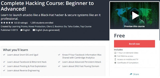 [100% Free] Complete Hacking Course: Beginner to Advanced!