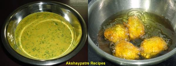 make a besan mixture, dip and fry the bhajis
