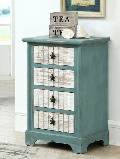 Coastal Accent Cabinet Drawer Chest with Sea Life Hardware Drawer Pulls