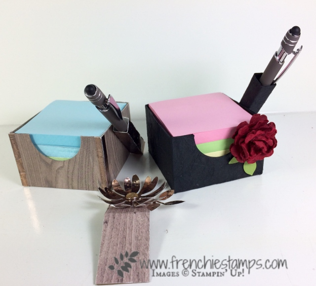 His and Hers Post it Note Cube, Faux Leather with cardstock, Stampin'Up!, Frenchiestamps,