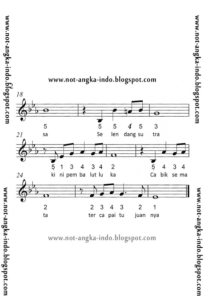 Not Angka Lagu Selendang Sutra