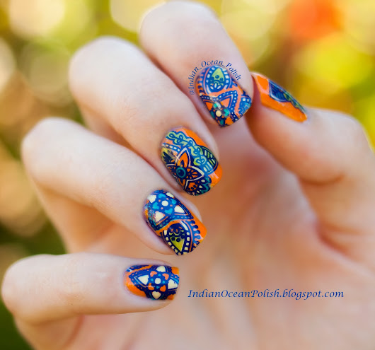 Stained Glass Homemade Nail Decals With MoYou London Explorer Collection Plate 03