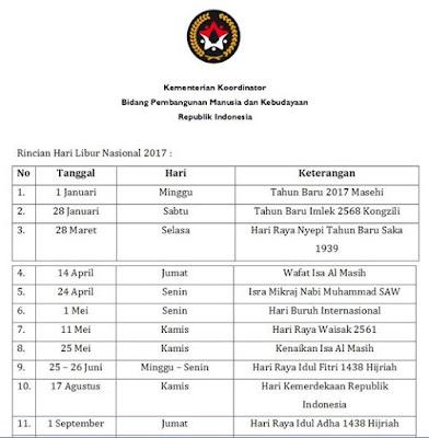 Surat Edaran Hari Libur Nasional Dan Cuti Bersama Tahun 2017