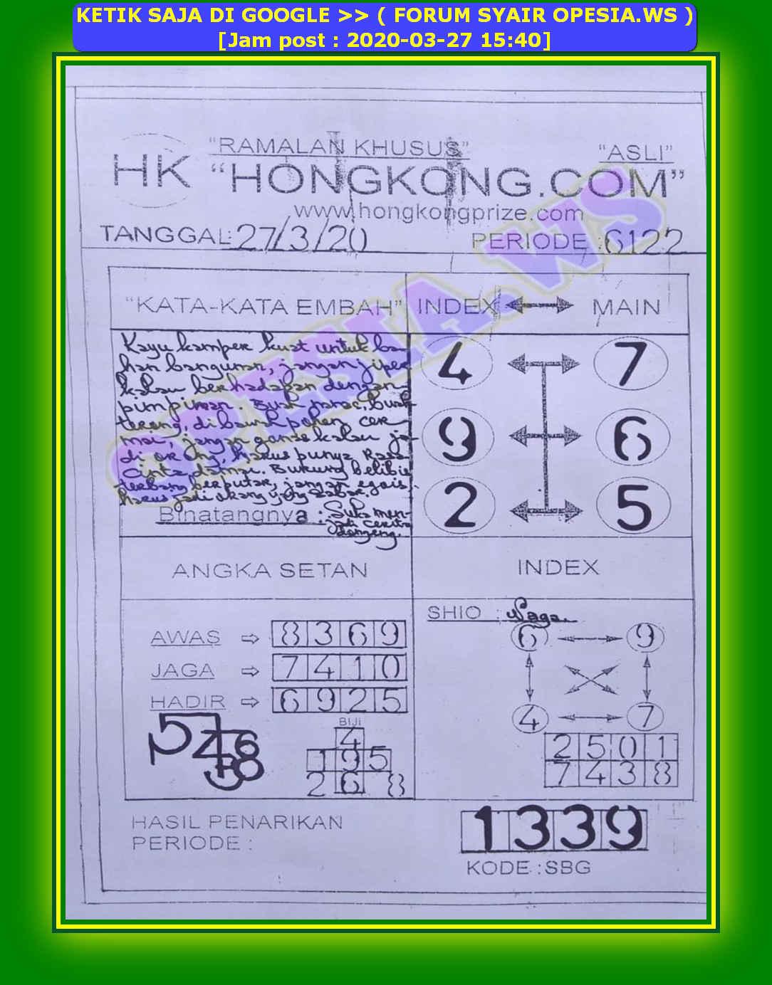 Kode syair Hongkong Jumat 27 Maret 2020 48