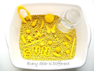 Yellow Sensory Bin with Tweezing Activity