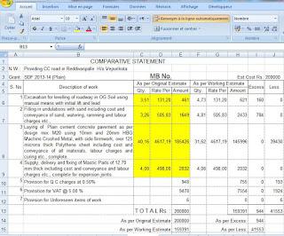 road Model estimate excel worksheet