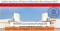 Indian Institute of Science Recruitment 2017– 24 Secretarial Assistant Trainee