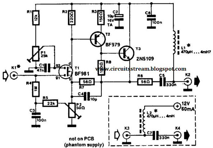 build a low noise active antenna circuit diagram