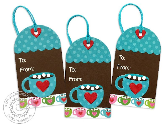 Sunny Studio Stamps: Warm & Cozy Hot Cocoa Christmas Gift Tags by Mendi Yoshikawa