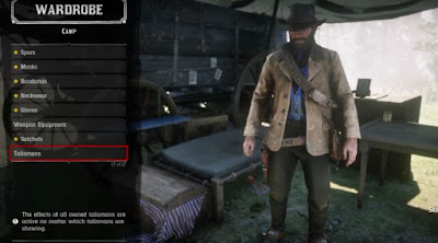 Red Dead Redemption 2, Wardrobe Menu, Bonus Items