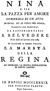 A poster advertising the premiere of Paisiello's opera Nina