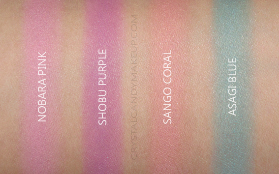 Shiseido Paperlight Cream Eye Colors Swatches Nobara Pink Shobu Purple Sango Coral Asagi Blue